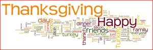 Word Cloud of Thanksgiving on my Facebook Page (names redacted)